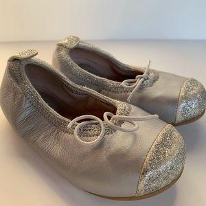 Girl's Bloch Glitter Toe Leather Flat
